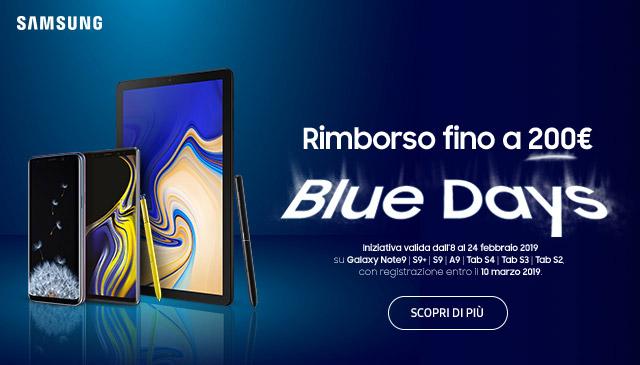 Samsung Blue Days: rimborso fino a ¤200