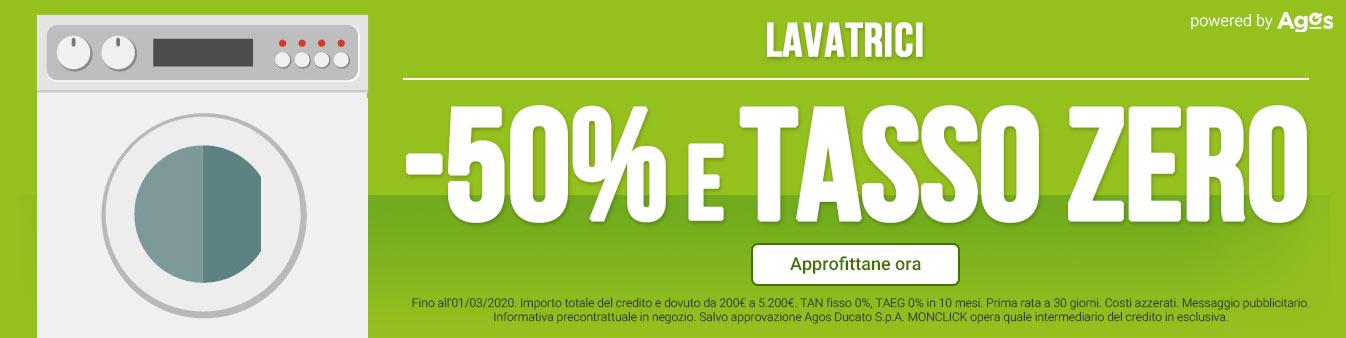 Lavatrici -50% e Tasso Zero