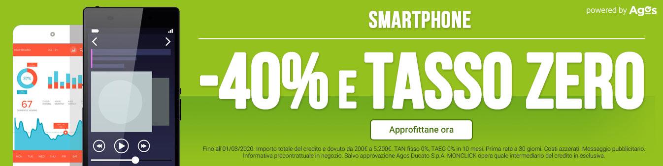 Smartphone -40% e Tasso Zero