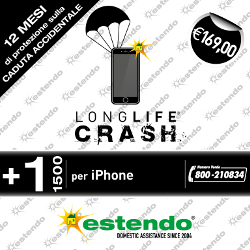 Estens. assistenza 1 anno + Crash 1 anni caduta accidentale/ossidazione iPhone 1000-1500¤